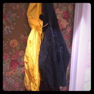 2 light rain jackets.
